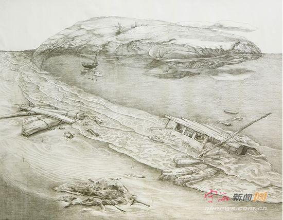 青岛崂山海边风景速写临摹